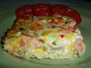 Ham and Egg Casserole With Cheese And Veggies