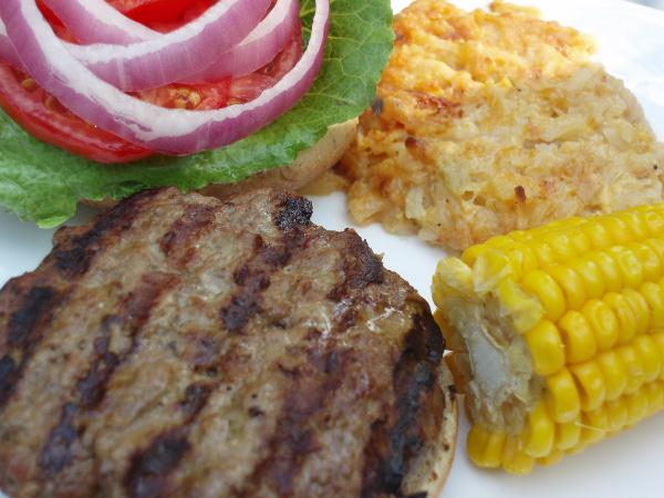 grilled hamburgers, hashbrown casserole