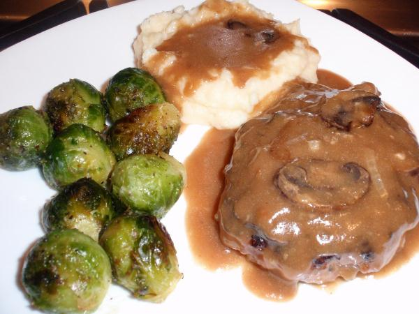 This Melt In Your Mouth Salisbury Steak You Can Find The Recipe My Ecookbook Mashed Potatoes And Roasted Brussels Sprouts Is A Wonderful Supper Idea