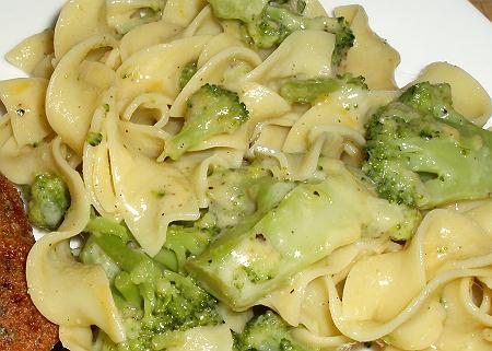 broccoli noodles, broccoli and cheese, egg noodles