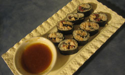 deli roll sushi with dipping sauce