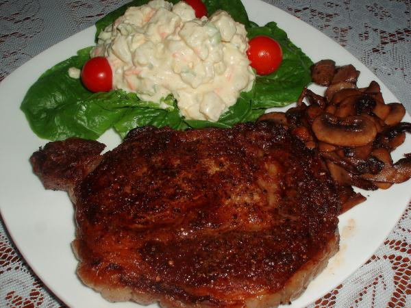 rib eye steak, ribeye steak, southern potato salad, potato salad